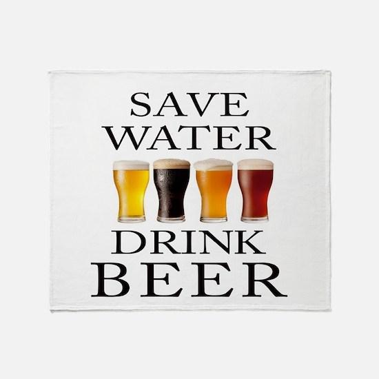 Save Water Drink Beer Throw Blanket