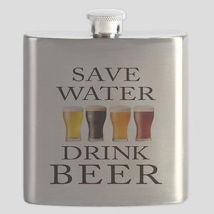 Save Water Drink Beer Flask
