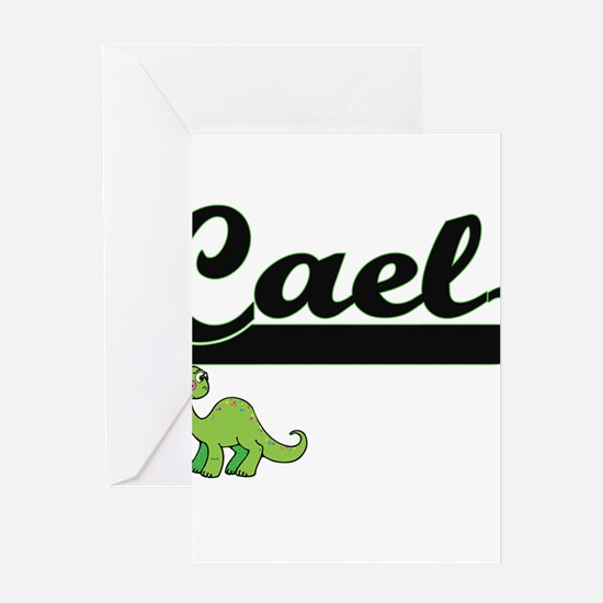 Cael Classic Name Design with Dinos Greeting Cards