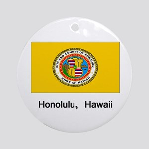 Honolulu HA Flag Ornament (Round)