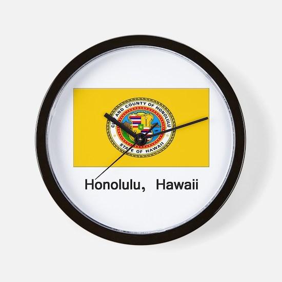 Honolulu HA Flag Wall Clock