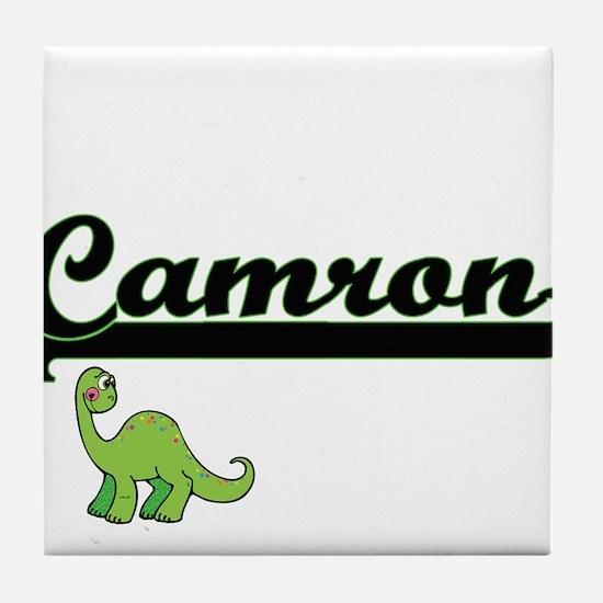 Camron Classic Name Design with Dinos Tile Coaster