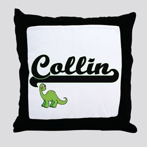 Collin Classic Name Design with Dinos Throw Pillow