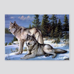 Wolves 5 X7 Area Rug