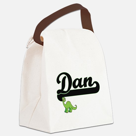 Dan Classic Name Design with Dino Canvas Lunch Bag