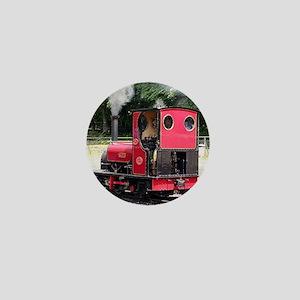 Red steam train engine, Wales 2 Mini Button
