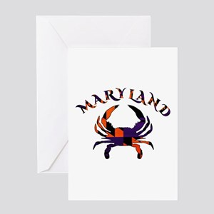 Maryland Flag Orange And Purple Greeting Cards