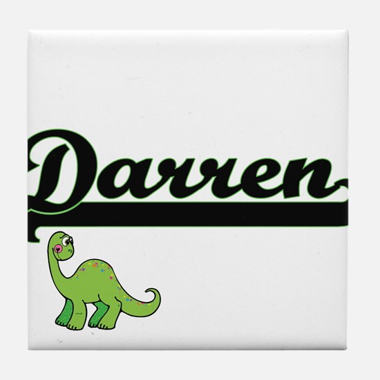 Darren Classic Name Design with Dinos Tile Coaster