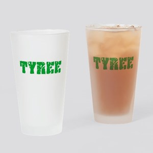 Tyree Name Weathered Green Design Drinking Glass