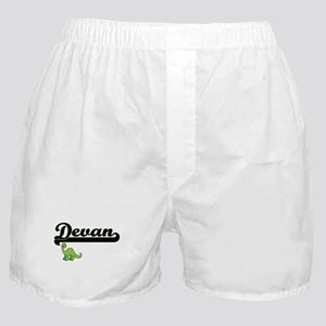 Devan Classic Name Design with Dinosa Boxer Shorts