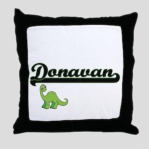 Donavan Classic Name Design with Dino Throw Pillow