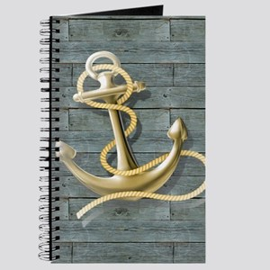ocean blue wood anchor Journal