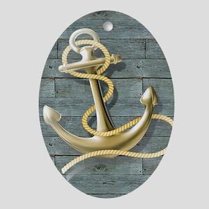 ocean blue wood anchor Oval Ornament