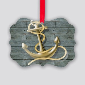 ocean blue wood anchor Picture Ornament