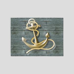 ocean blue wood anchor 5'x7'Area Rug