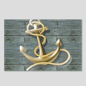 ocean blue wood anchor Postcards (Package of 8)