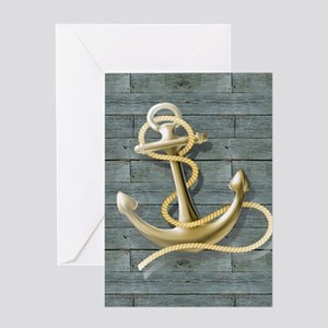 ocean blue wood anchor Greeting Cards