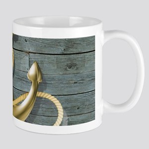 ocean blue wood anchor Mugs