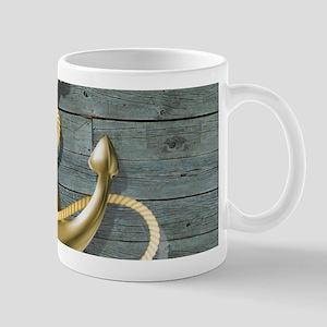 ocean blue wood anchor Mugs