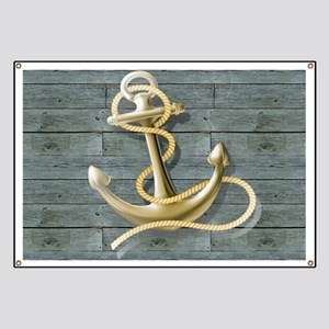 ocean blue wood anchor Banner
