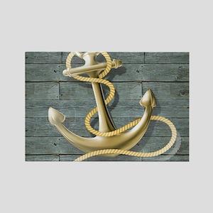 ocean blue wood anchor Magnets
