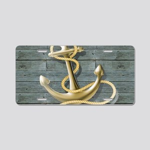 ocean blue wood anchor Aluminum License Plate