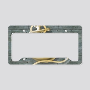 ocean blue wood anchor License Plate Holder