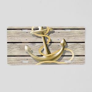 white drift wood anchor Aluminum License Plate