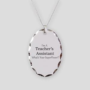 Teacher's Assistant Necklace Oval Charm