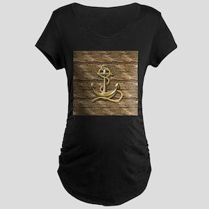 nautical beach wood anchor Maternity T-Shirt