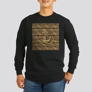 nautical beach wood anchor Long Sleeve T-Shirt