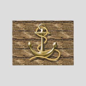 nautical beach wood anchor 5'x7'Area Rug