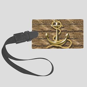 nautical beach wood anchor Large Luggage Tag