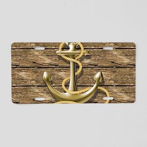nautical beach wood anchor Aluminum License Plate