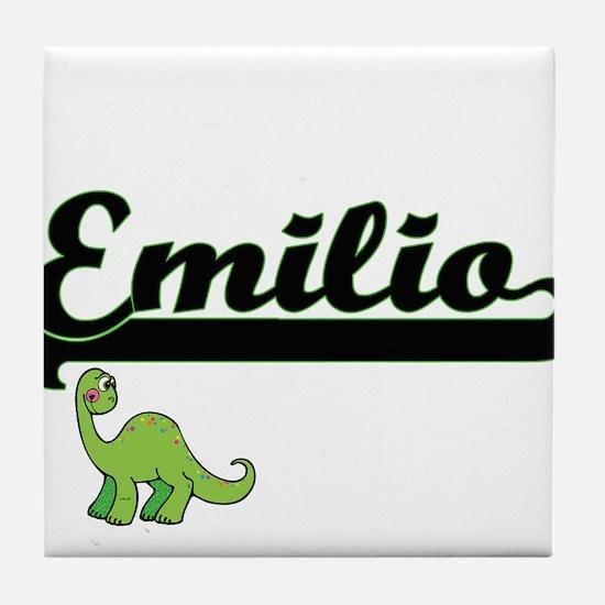 Emilio Classic Name Design with Dinos Tile Coaster