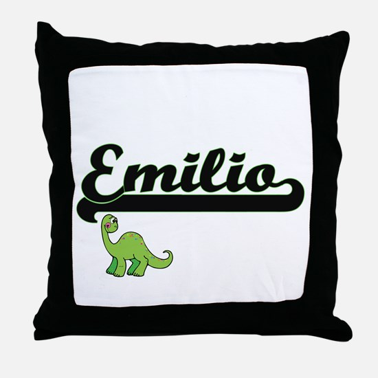 Emilio Classic Name Design with Dinos Throw Pillow