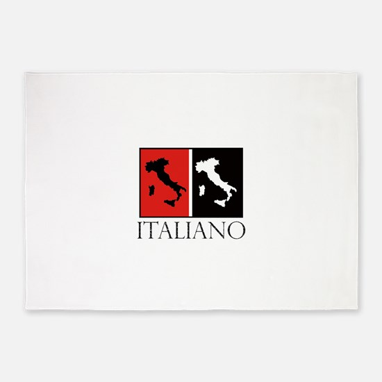 Italiano: Red Black 5'x7'Area Rug