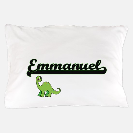 Emmanuel Classic Name Design with Dino Pillow Case