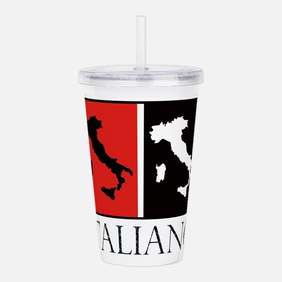 Italiano: Red Black Acrylic Double-wall Tumbler