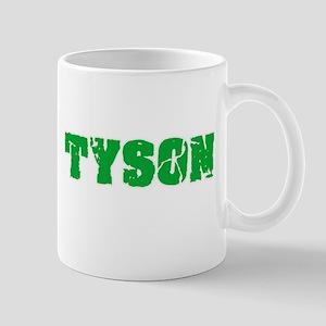Tyson Name Weathered Green Design Mugs