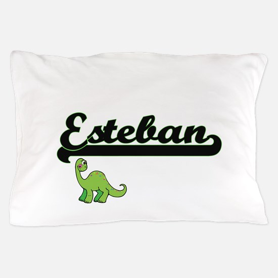 Esteban Classic Name Design with Dinos Pillow Case