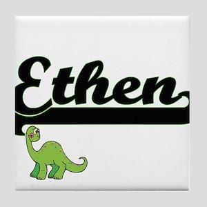 Ethen Classic Name Design with Dinosa Tile Coaster