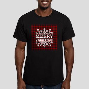 Red and black plaid Merry Christmas snowfl T-Shirt