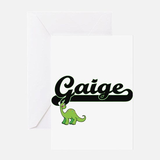 Gaige Classic Name Design with Dino Greeting Cards