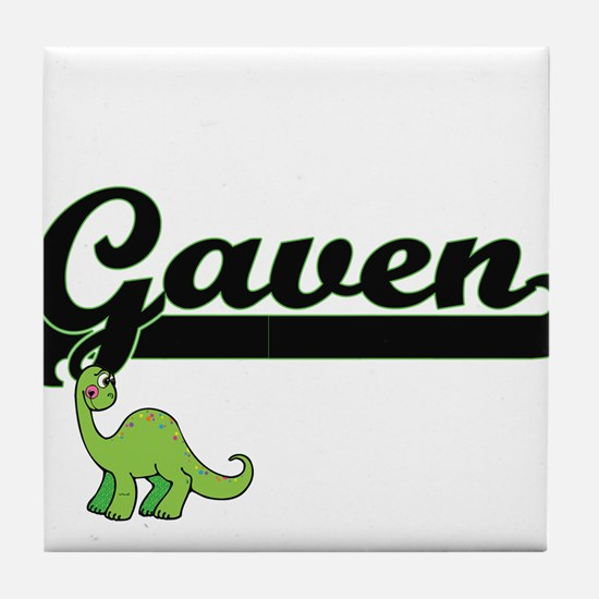 Gaven Classic Name Design with Dinosa Tile Coaster