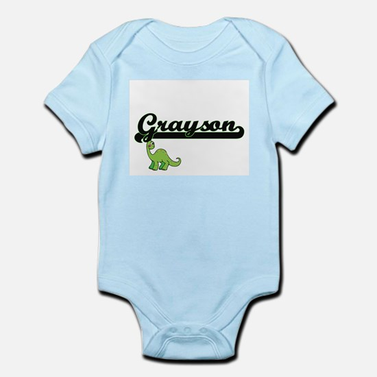Grayson Classic Name Design with Dinosau Body Suit