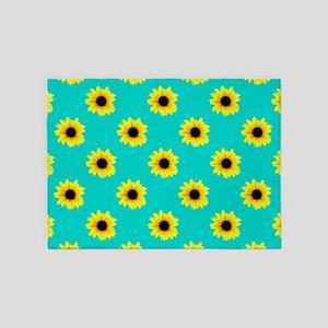 Pretty Sunflower Pattern with Blue Background 5'x7