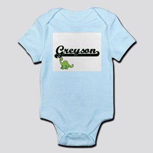 Greyson Classic Name Design with Dinosau Body Suit
