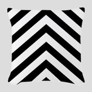 Black White Chevron Woven Throw Pillow