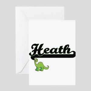 Heath Classic Name Design with Dino Greeting Cards